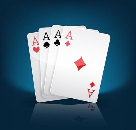 jeu de carte: quatre aces en jouant cartes sur fond bleu costumes