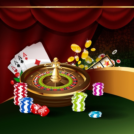 joker card: Vector illustration on a casino theme with roulette wheel, playing cards and poker chips