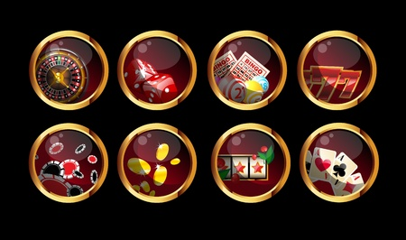betting: gambling buttons set on black background
