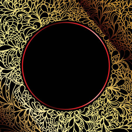 gold and black luxury decorative ornate background Vector