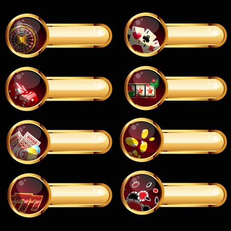 games of chance: gambling buttons set on black background
