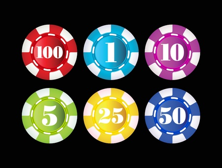 gambling chips isolated on black background Illustration