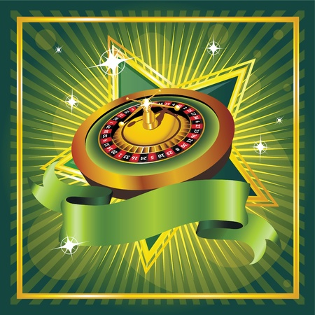 roulette wheels: vector roulette wheel on green background Illustration