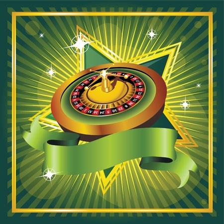 Vektor-Roulette-Rad auf grünem Hintergrund Vektorgrafik