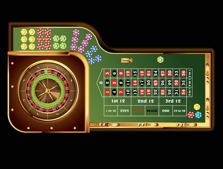 ruleta casino: mesa de la ruleta europea Vectores