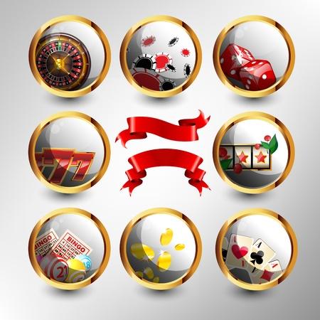 bingo: Conjunto de iconos de casino s Vectores