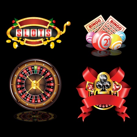 ace of diamonds: Set of casino s items on black background