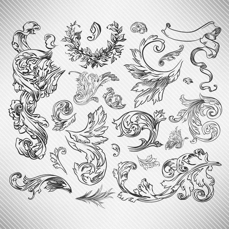 calligraphie arabe: Ensemble pour la d�coration florale la page