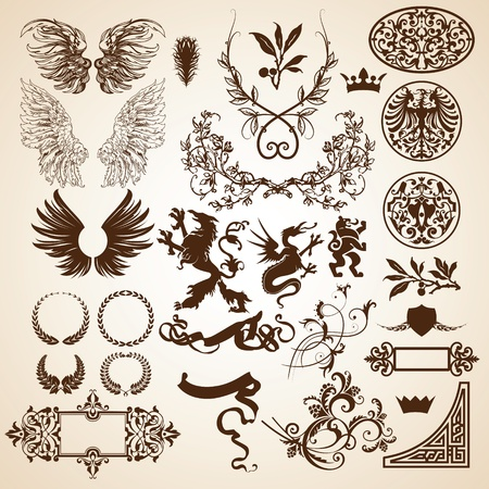 set of heraldic elements