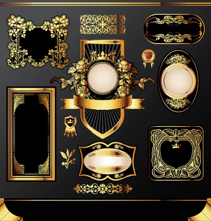 set of the golden vintage labels Stock Vector - 12820033