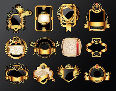 aristocratic: set of the golden vintage labels