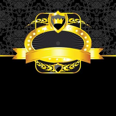 Luxury golden vintage label on black seamless background Vector