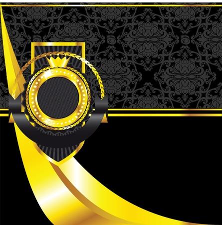 Luxury golden vintage label on black seamless background