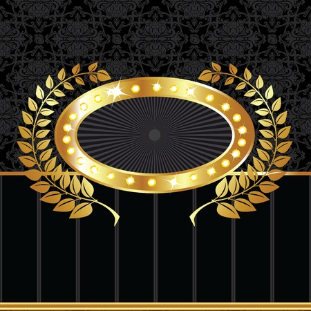 Luxury golden vintage label on black seamless background Vector