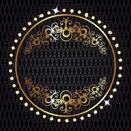 ornate gold frame: Golden royal lable on black background with corners