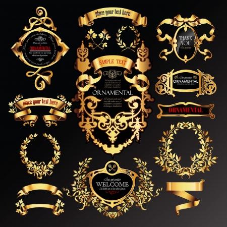 ruban noir: ensemble d'étiquettes avec des éléments or