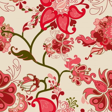 Abstract floral vector seamless pattern. Illustration