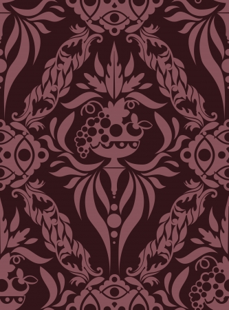 tileable: Seamless Damask wallpaper.