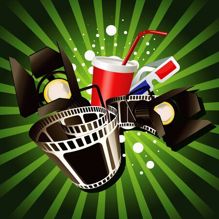 Illustration of  movie theme objects on green background. Vector
