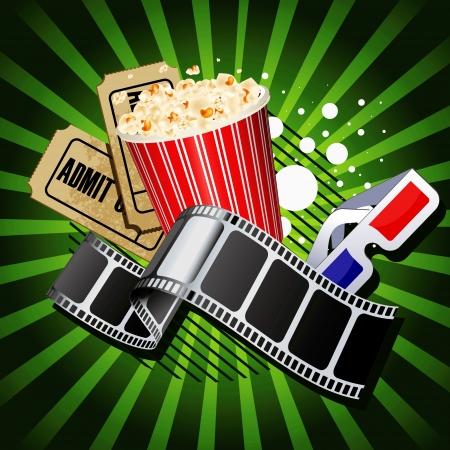 palomitas de maiz: Ilustración de los objetos temáticos de cine en fondo verde.