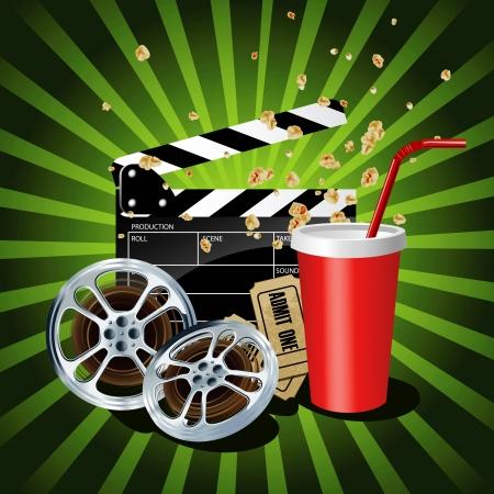 rollo pelicula: Ilustración de los objetos temáticos de cine en fondo verde.