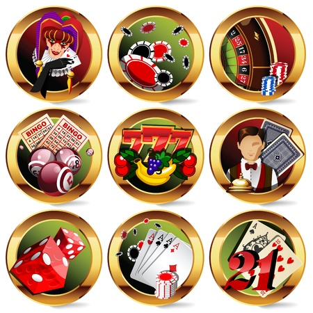 roulette wheel: casino or gambling icons set. Illustration