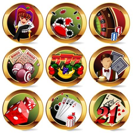 bingo: los iconos de los juegos de azar de casino o de establecer. Vectores