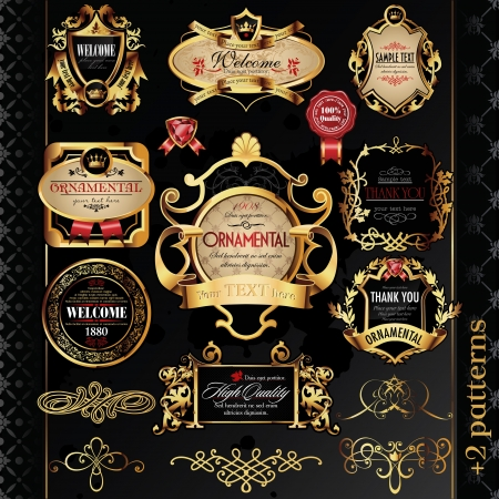 calligraphic design elements and golden labels. Illustration