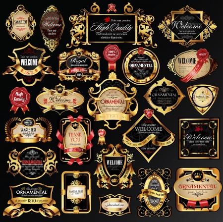 shield emblem: set di etichette con elementi in oro. Vettoriali