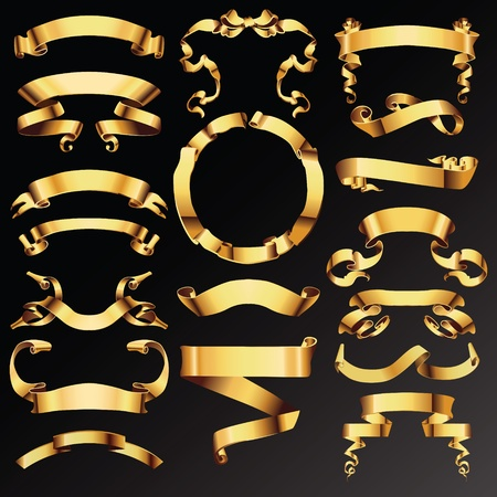 gold swirls: Set of golden vector ribbons or banners for your text
