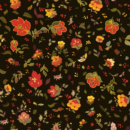 vintage scrolls: retro floral seamless pattern