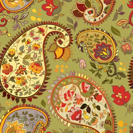india pattern: beautiful green  paisley seamless background