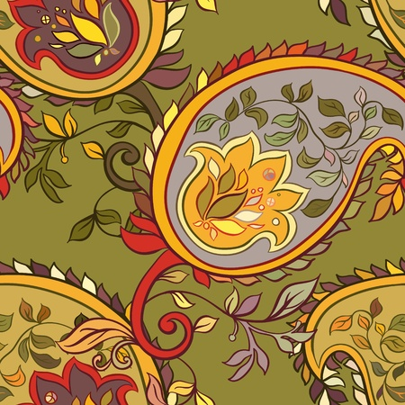beautiful green  paisley seamless background