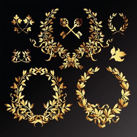 Set of golden  laurel wreaths Stock Vector - 13702611