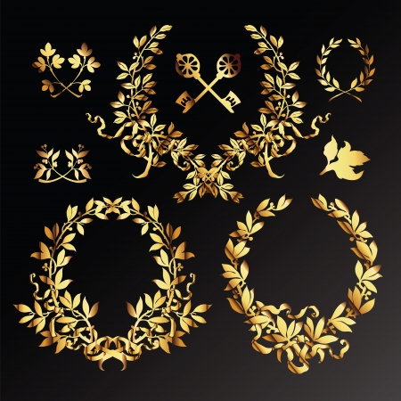 laurel leaf: Set of golden  laurel wreaths