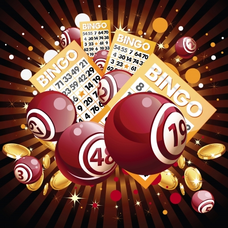 Bingo or lottery balls and cards on shiny background Illustration