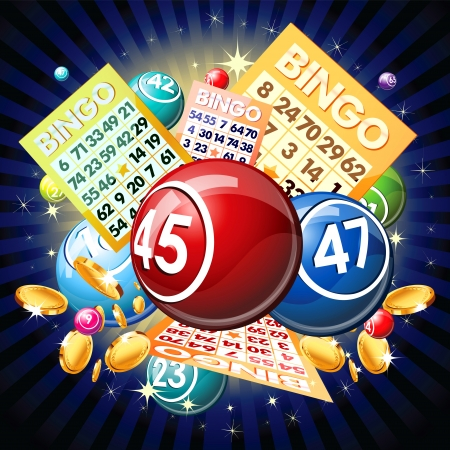 lottery win: Bingo balls and cards on golden background.