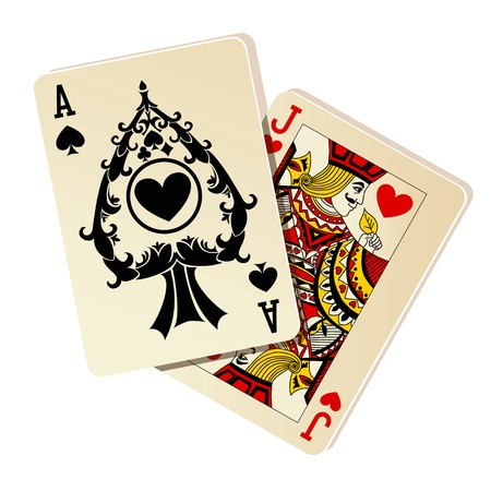 deck of cards: Black Jack. Two cards on white background. Illustration