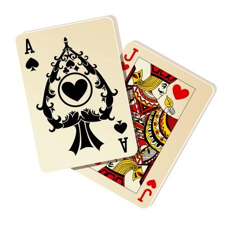 Black Jack. Zwei Karten auf weißem Hintergrund.