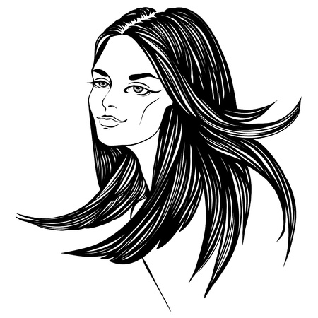 outline women: fashion beautiful woman with long curly hair