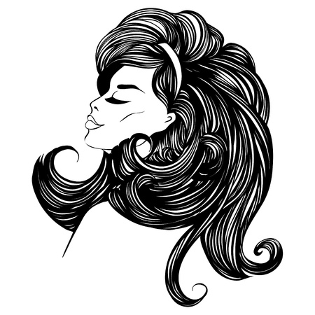 fashion beautiful woman with long curly hair Vector