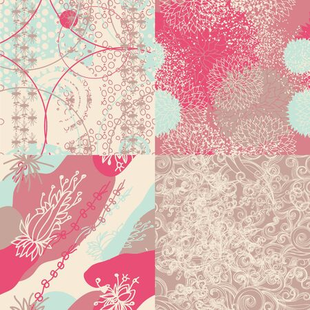 luxuriate: Set of abstract floral seamless patterns  Illustration
