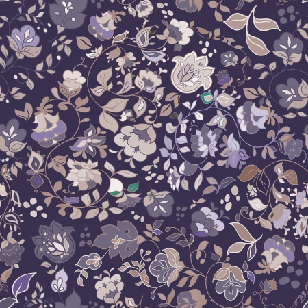 Vector retro floral seamless pattern  Vector