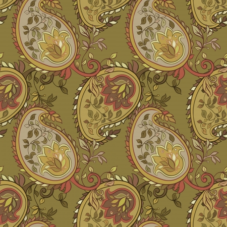 beautiful green paisley seamless background Vector
