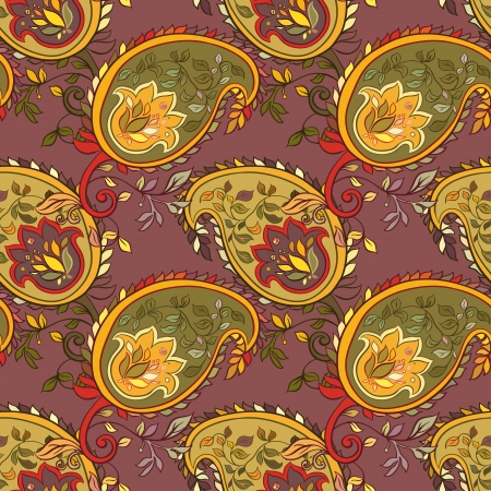 beautiful colorful paisley seamless background  Vector