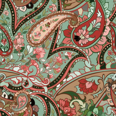 india pattern: beautiful green paisley seamless background Illustration