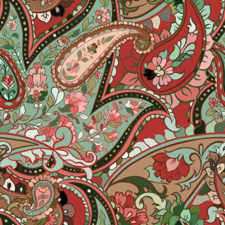 beautiful colorful paisley seamless background Stock Vector - 14316171