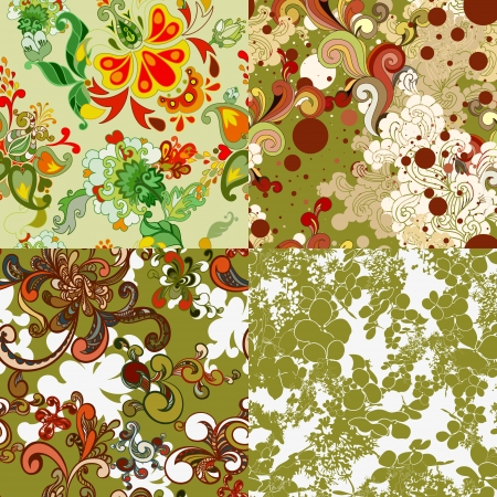luxuriate: Set of green floral seamless patterns