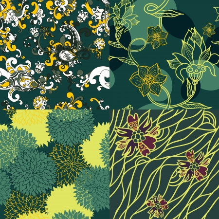 luxuriate: Set of floral seamless patterns