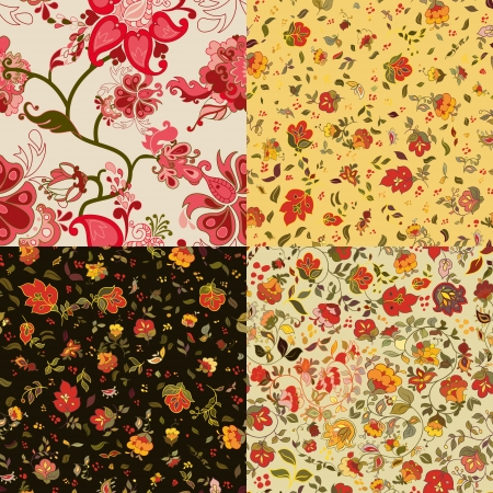 retro floral seamless patterns  Vector